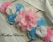 Stunning Chiffon Flower Maternity Sash Belt - Pregnancy Photo Prop -  Gender Neutral - Blue White Pink - Twins Sash - Gender Reveal