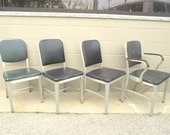 4 Mid Century Industrial Goodform Art Metal Chairs - Machine Age Steampunk Office - ALUMINUM Frames - General Fireproofing Co.