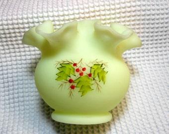 Vintage, Fenton Art Glass, Holly Berry Pattern, Custard Glass, Vase/Bowl