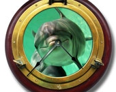 PORTHOLE pattern wall CLOCK - brass & wood color - many other underwater or outer space designs LOOK