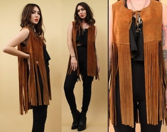 60s 70s Vtg Genuine LEATHER Extra Long FRINGE Vest Jacket / Whiskey Brown Suede Boho Hippie Glam Rock N Roll / Deadstock nwot Xs Sm