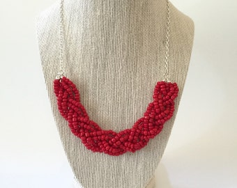 Red Beaded Braid Necklace