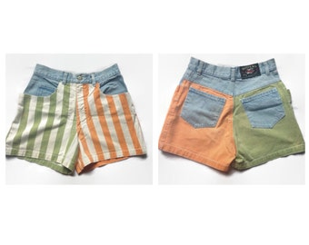 90s Striped Color Block High Waisted Shorts