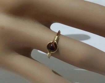Delicate 4mm red tiger's eye Ring Pinkie/Child