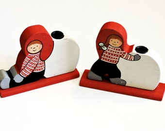 Scandinavian Candlestick Holders, Norwegian Pair Vintage Wood Hand Painted Children w/Snowballs Christmas Winter Candle Decor itsyourcountry
