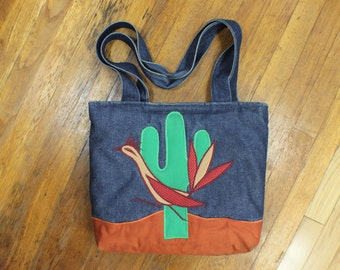 Denim Cactus Carry All / Vintage Southwest Patchwork Shoulder Bag / Roadrunner Tote