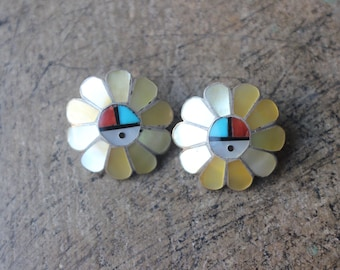 Sunface EARRINGS / Vintage Southwestern Jewelry / Inlay Earrings