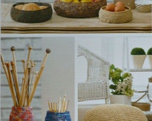 Bowl Knitting Pattern K4339 3 Sizes of Storage Bowls, Pouffe and Jar Covers Crochet Pattern in Raffia King Cole