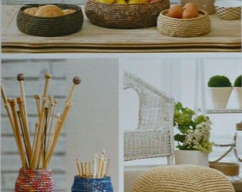 Bowl Knitting Pattern K4339 3 Sizes of Storage Bowls, Pouffe and Jar Covers Crochet Pattern in Raffia King Cole