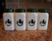 Vintage RARE McKee Tipp BLACKBIRD Salt Pepper Sugar Flour Range Shakers