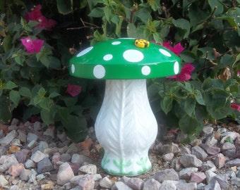 Green and White Moon 'Shroom - Hubcap Mushroom Garden Art