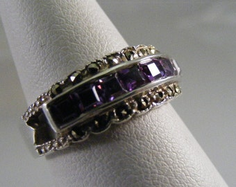 Vintage Purple Cubic Zirconia and Marcasite Sterling Silver Ring.....  Lot 4157