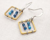 One Square Wearable Tech Computer Earrings Techie Jewelry Blue Petite Resistors Geometric Earrings Electronics Eco Friendly Earrings gift