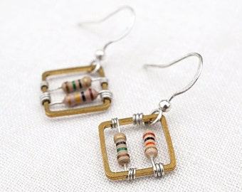 Square Geometric Earrings Wearable Tech Computer Earrings Techie Jewelry Petite Beige Resistor Electronic Eco Friendly Earrings Gift for her