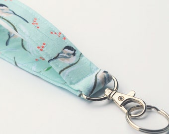 Wild Bird Key chain, Fabric Key Fob With Snap, Chickadees, Mint