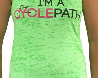 SoRock Women's I'm A Cyclepath Neon Green Burnout Tank