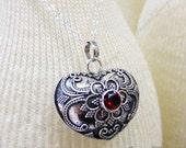 Garnet Heart Harmony Ball (aka Mexican Bola) Sterling Silver Pendant -Pregnancy Necklace ZZ82