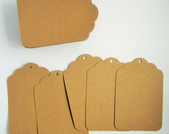 25 extra large scalloped top edged brown kraft card decorative parcel gift tags - 80x120mm