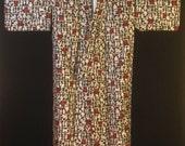 Vintage Mid Century Japanese Meisen Silk Kimono Black w/ Red White Mint Hieroglyphic Pattern.