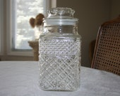 Vintage Anchor Hocking One Large Glass Jar Canister Clear Color Wexford Pattern
