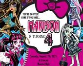 Monster High Invitation , Monster High Birthday Digital Invitation , Halloween Monster High Party - Personalized Digital Invitation