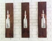 3 Wine Bottle Oil Lamps (frosted) - INDOOR - Gift for women - Hanging Lantern - Wall Lamp - Light Sconce - Modern Lighting