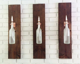 3 Wine Bottle Oil Lamps (frosted) - INDOOR - Gift for women - Hanging Lantern - Wall Lamp - Light Sconce - Modern Lighting