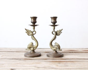 Brass Koi Fish Candlesticks