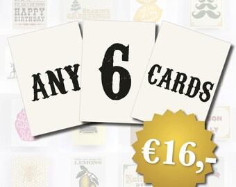 Bulk Card Discount - 6 Cards of your choice, Birthday Cards, Christmas Cards, Friendship Cards, All Occasion Cards, Pack of 6