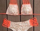 Strappy Neon Coral Lace Bohemian Print Scrunch Cheeky Bikini