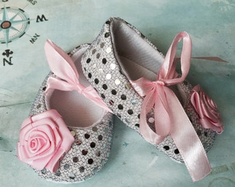 Baby Girl silver and pink Crib Shoes  infant sequin Shoes,Christening, Baptism, Wedding, Ready to ship