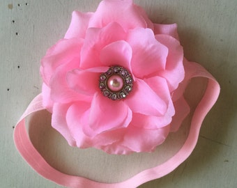 Lavander crochet headband big peony flower,Girl crochet headband,flower headband.