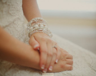 Ivory Bridal Bracelet Chunky Pearl Bracelet Multiple Strands Bracelet Pearl And Crystal Bracelet Bridal Statement Jewelry Formal Wedding