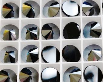 10mm-Swarovski Crystal-Flatback Rivoli-HEMATITE-4 pieces-Fancy Stone-Cabochon-#2006-Beadwork-Bead Embroidery