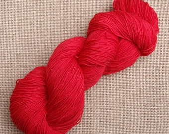 """Hand dyed British Bluefaced Leicester/nylon sock yarn in """"Mars"""""""