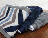 Set of 3 Coordinating Minky Burp Cloths - Grey and Navy Blue Chevron with Dimple Dot Minky and Coordinating Grossgrain Ribbon edging