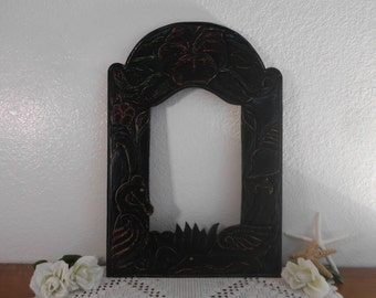Large Black Wall Mirror Shabby Chic Hawaiian Art Deco Hibiscus Platypus Shell Tropical Island California Nautical Beach Bungalow Home Decor
