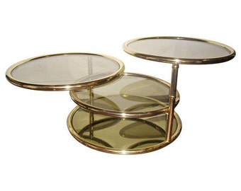 Mid-Century Brass Glass Swivel Tiered Coffee Table Round Baughman Style