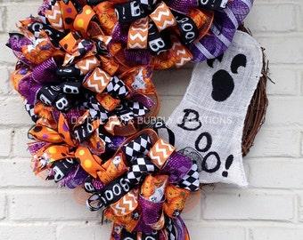 Halloween Burlap Boo Ghost Grapevine Wreath