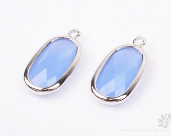 F128-S-RB// Rhodium Plated Royal Blue Baguette Glass Pendant, 2 pcs