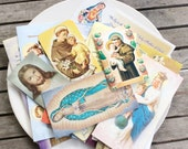 lot religious paper ephemera prayers images cards saint  decoupage craft supplies