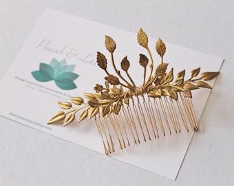 Bohemian Gold Tone Brass leaf  branch hair comb
