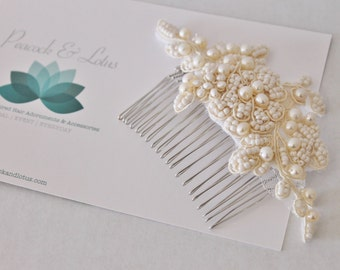 SALE Lace & Pearl vintage inspired bridal headpiece