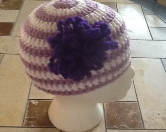 Crochet toddler hat with flower