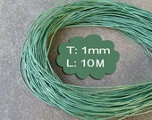10 Meter (1000cm, 10.93 Yard, 393.70 inch or 32.8Ft)  X 1mm Thick - Metallic Green Round Leather-M135 (Lead-free: SGS testing)