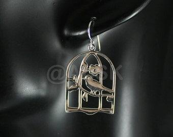 925 Polished STERLING SILVER 37mm FLower Garden Bird Cage Dangle Earrings SE12