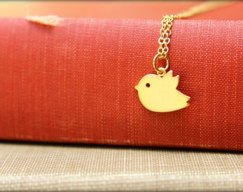 Chubby Flying Bird Necklace, Available in Silver and Gold