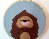 Sasquatch Felt Wall Art in Embroidery Hoop