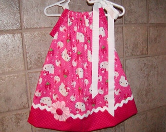 Girls Pillowcase Dress Custom..Hot Pink Hello Kitty Inspired..size 0-6, 6-12, 12-18, 18-24, 2T, 3T biggeer available