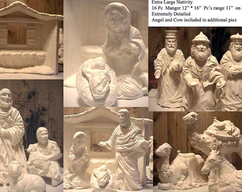 Extraordinary Beautiful,Vintage,Large,Nativity, Holy family, Holy Night, Nativity Scene,Mary and Jesus,Ready to paint,Ceramic Bisque,u-paint